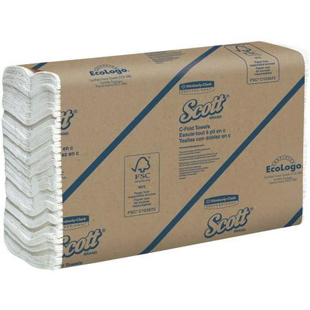 Scott, KCC01510, Surpass C-Fold Towels, 2400 / Carton, White C-fold Replacement Towels