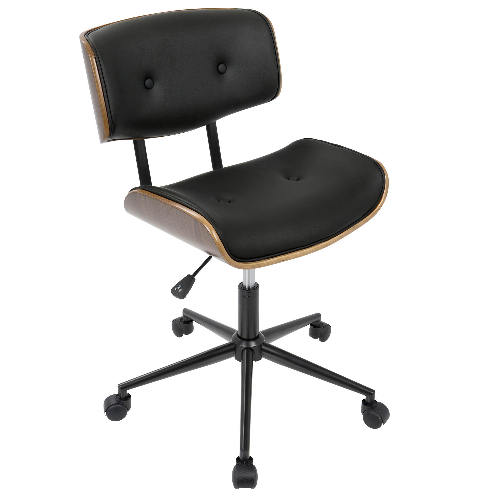 Lombardi Mid-Century Modern Adjustable Office Chair with Swivel in Walnut and Black by LumiSource