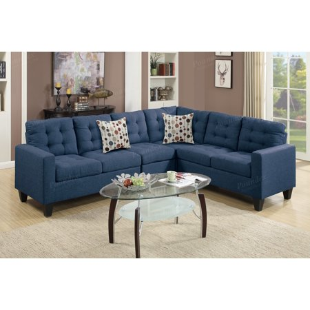 Remarkable Simple Relax Reversible Sectional Sofa Couch Loveseat Wedge Plush Tufted Seat Navy Polyfiber Pabps2019 Chair Design Images Pabps2019Com