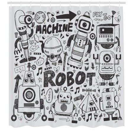 Robot Shower Curtain Futuristic Space Doodle Style Androids Sci Fi Pattern Fantasy Machine Art Print