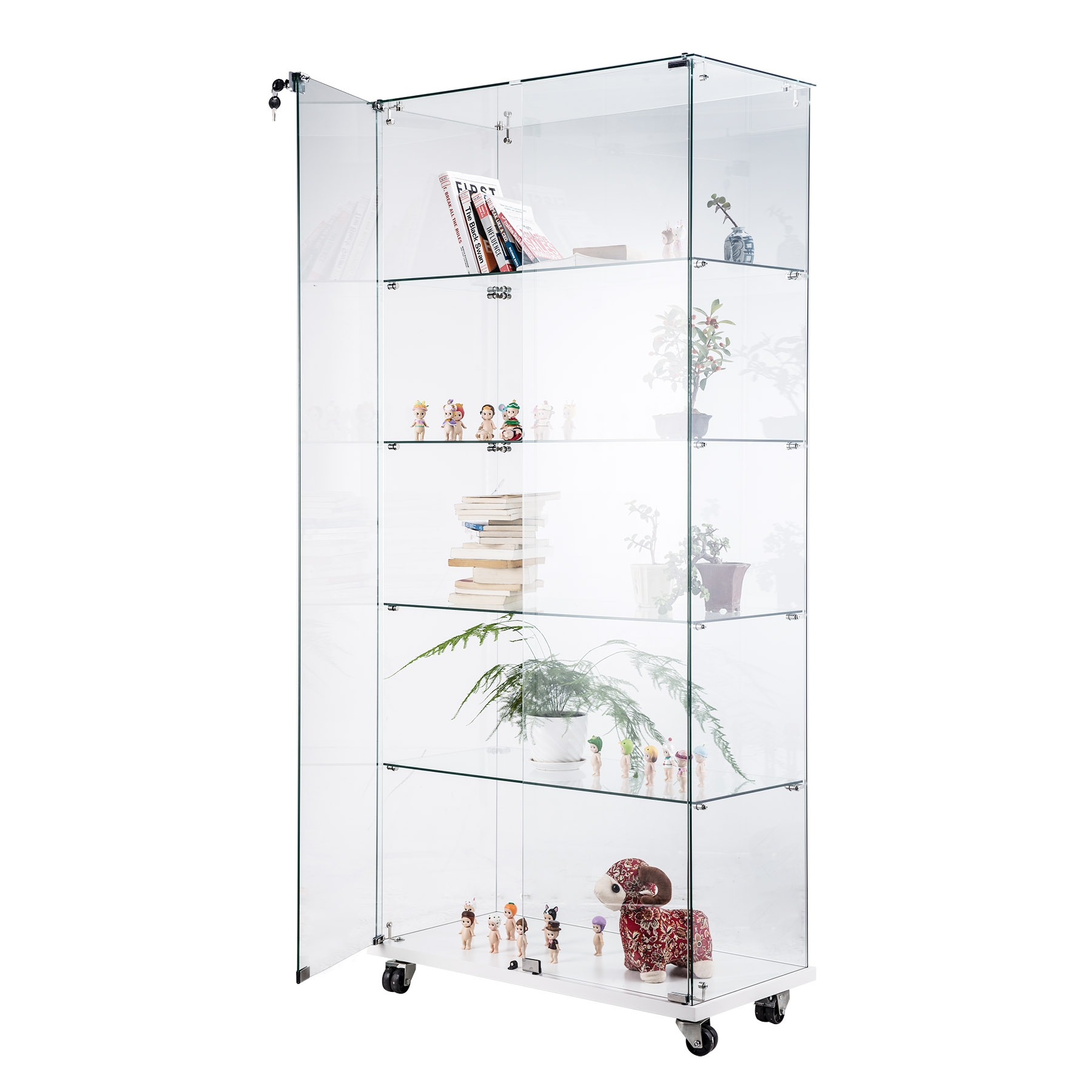 CO-Z Tempered Glass Curio Display Cabinets Showcase Free ...