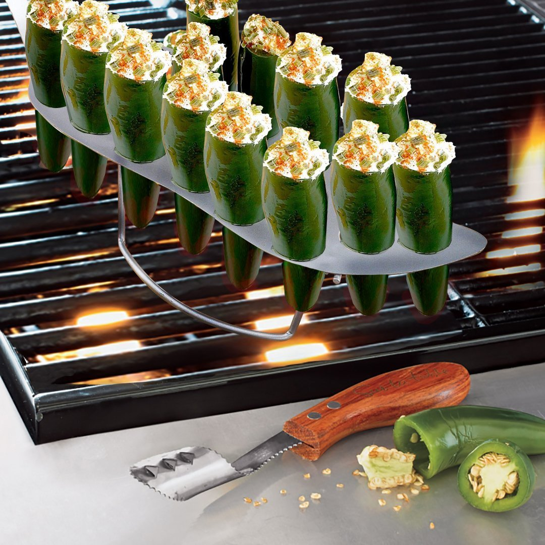Nonstick Metal Chili Pepper Jalapeno Roasting Rack Stainless-Steel 18-Hole with Corer by
