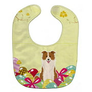 Carolines Treasures BB6119BIB Easter Eggs Border Collie Red White Baby Bib