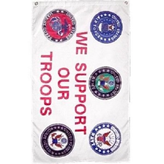 3x5 Ft Military We Support Our Troops 5 Branches Service