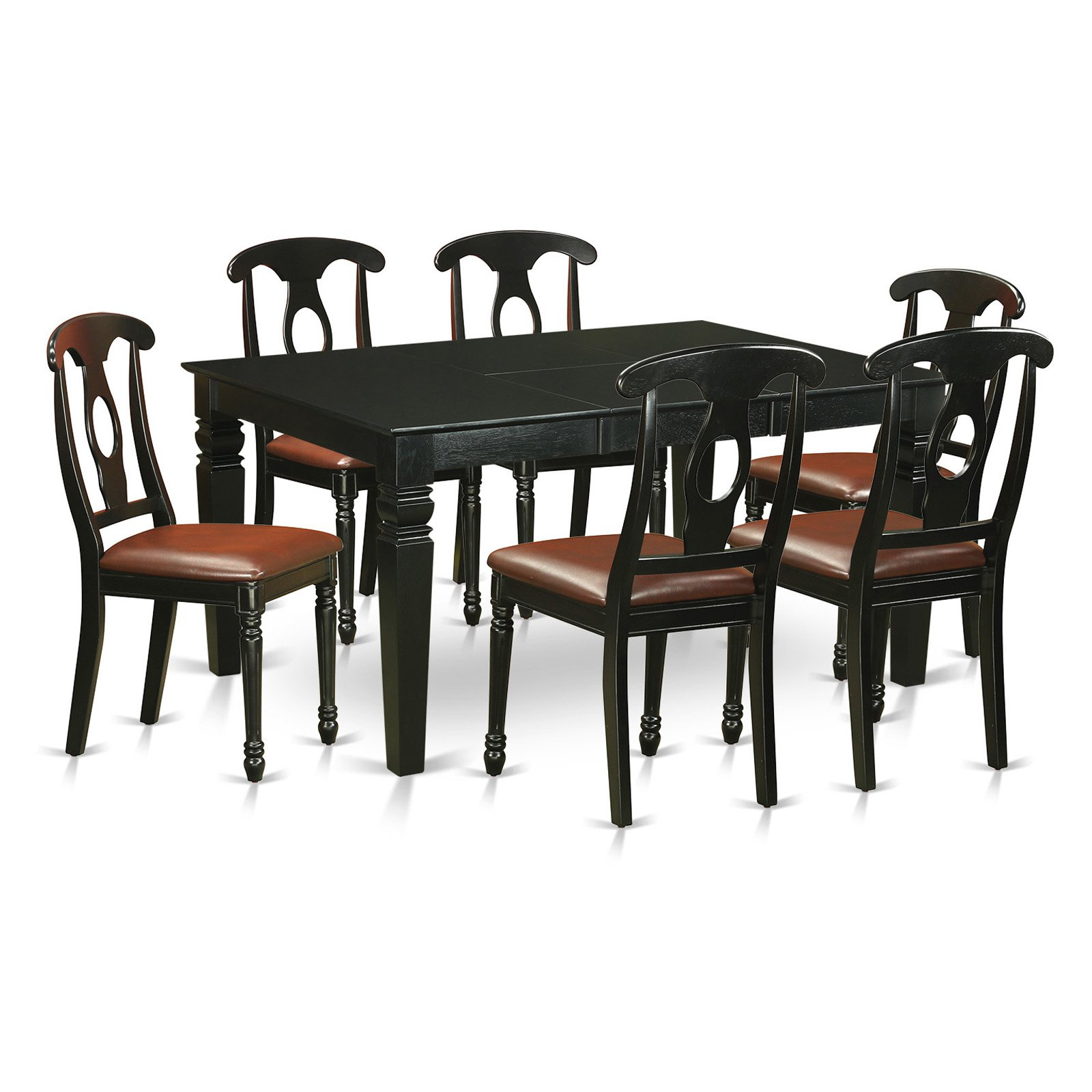 East West Furniture Weston 7 Piece Keyhole Dining Table Set