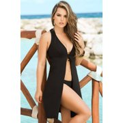 Black Tie Front Beach Cover-Up Espiral 7751 Black Xtra Large, Xtra Large