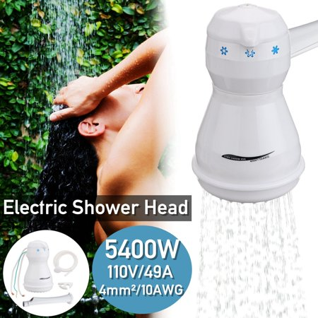 110V Electric Shower Head Heater Automatic Electric Instant Hot Water Bath Shower Head Heater with 5.7ft Hose