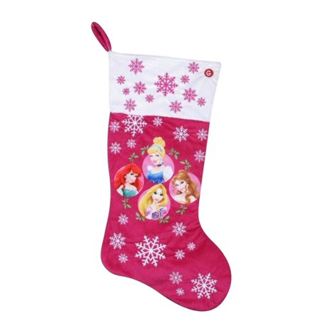 Disney Princess Plush Pink Musical Christmas Holiday Stocking Belle Ariel - Musical Christmas Stocking