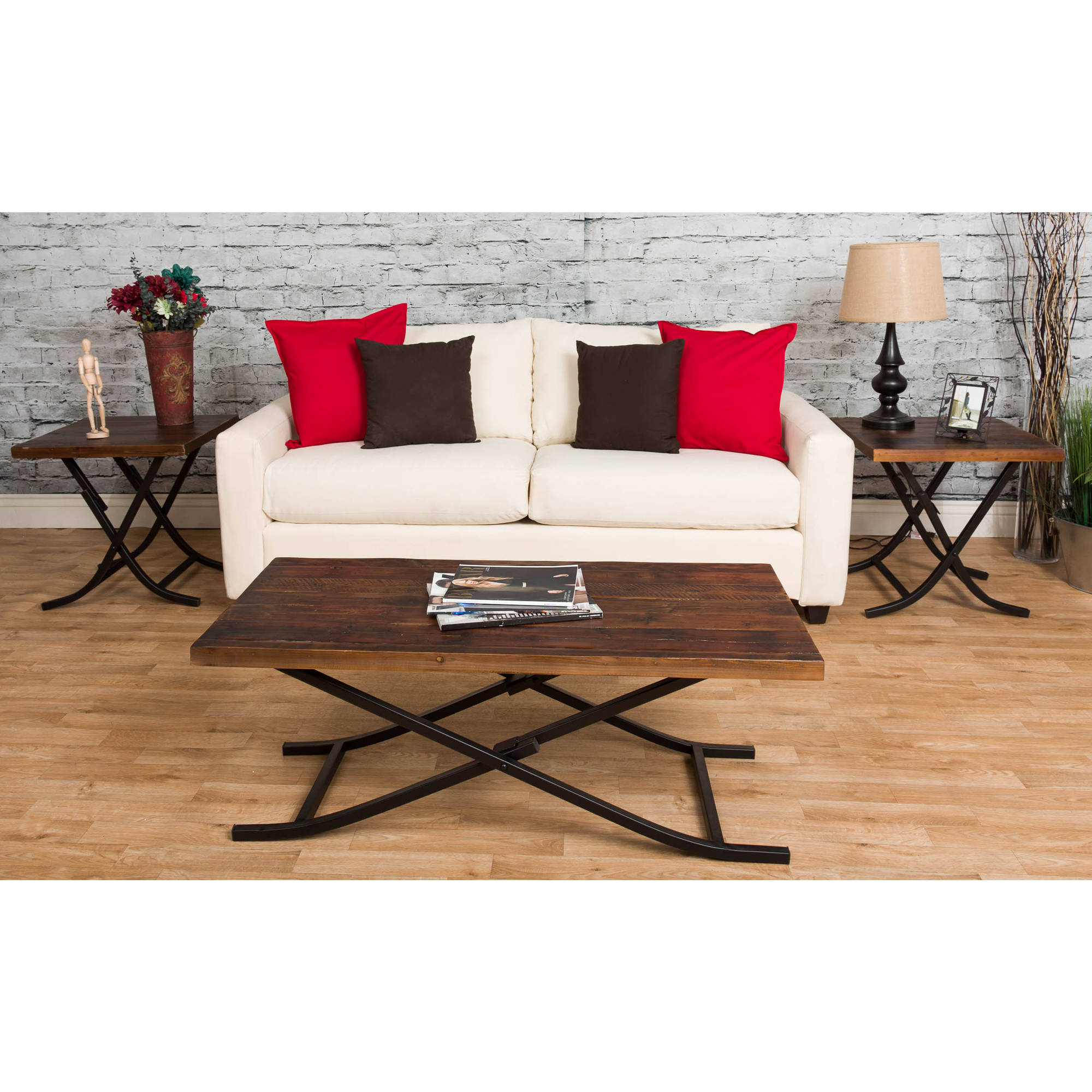 Starfish Furnishing Reclaimed Wood Foldable 3-Piece Occasional Table Set, Natural Finish
