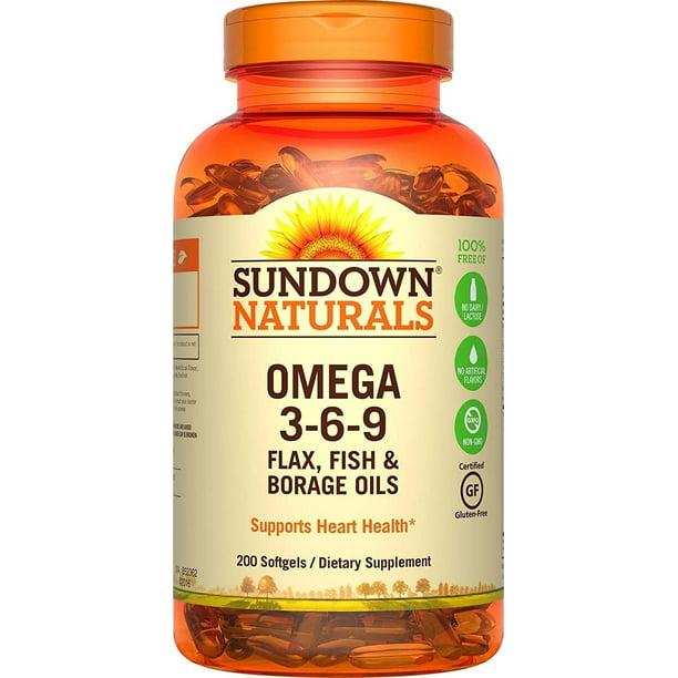 Sundown Naturals Triple Omega 3 6 9 200 Softgels Walmart Com