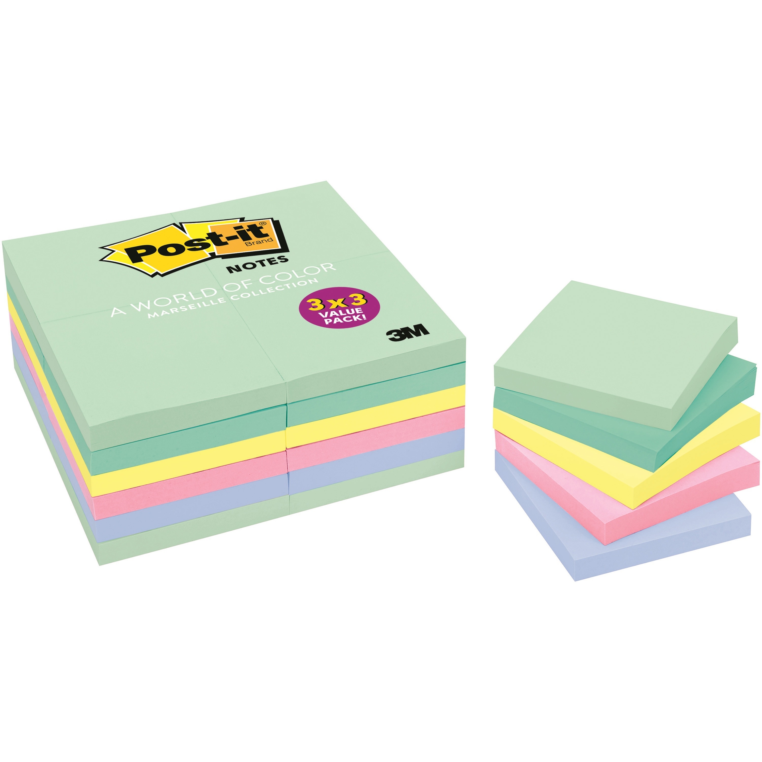 Post-it®, MMM65324APVAD, Marseille Colors Value Pack Notes, 24 / Pack