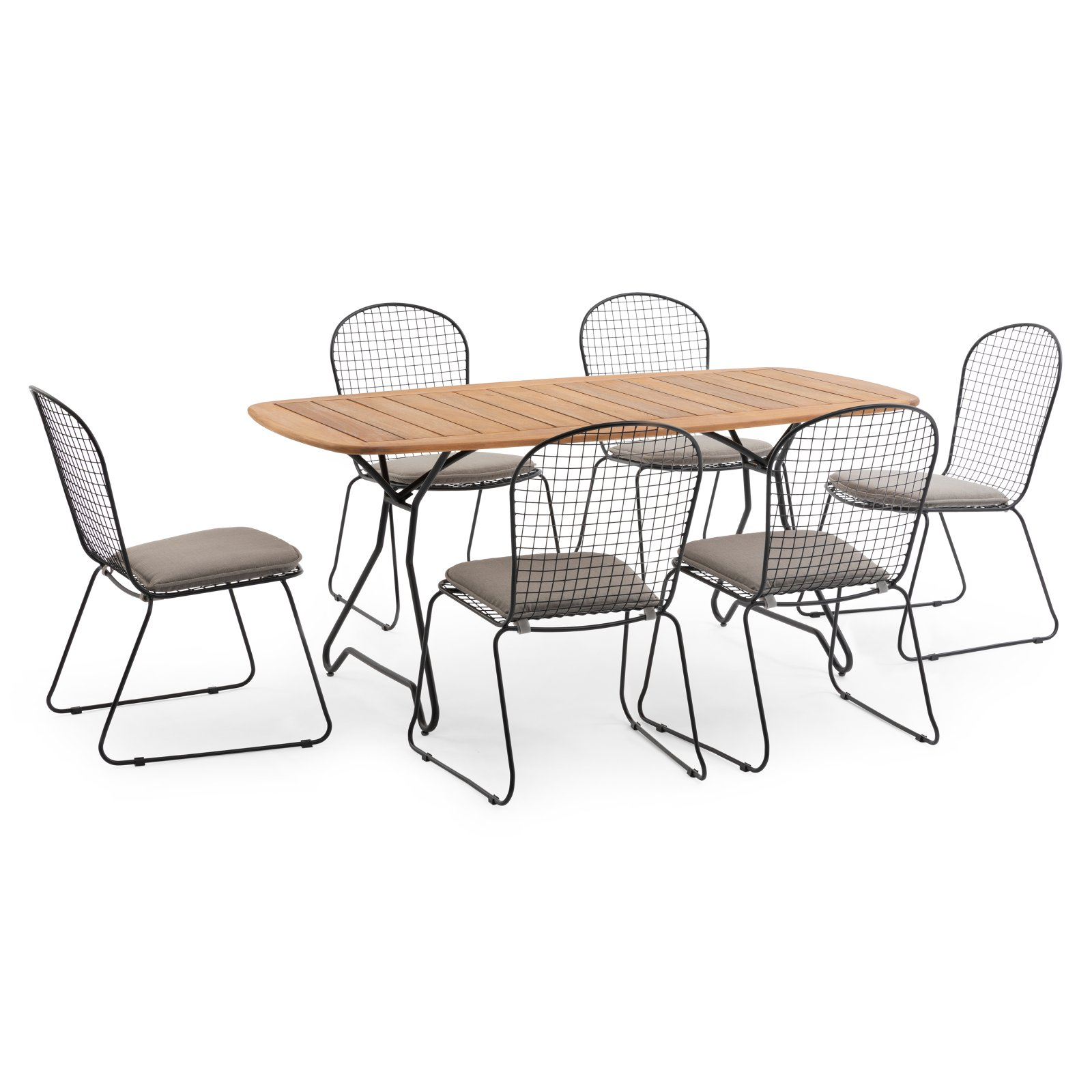 Belham Living Ashlin 7 Piece Wood and Wire Outdoor Patio Dining Set