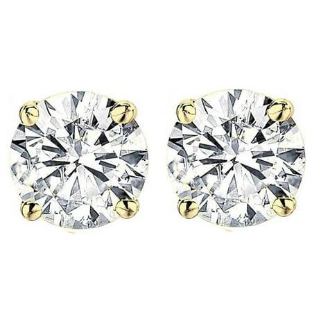 2 1/2 ct Round Diamond Studs in 14k Yellow Gold Screw Back Clarity