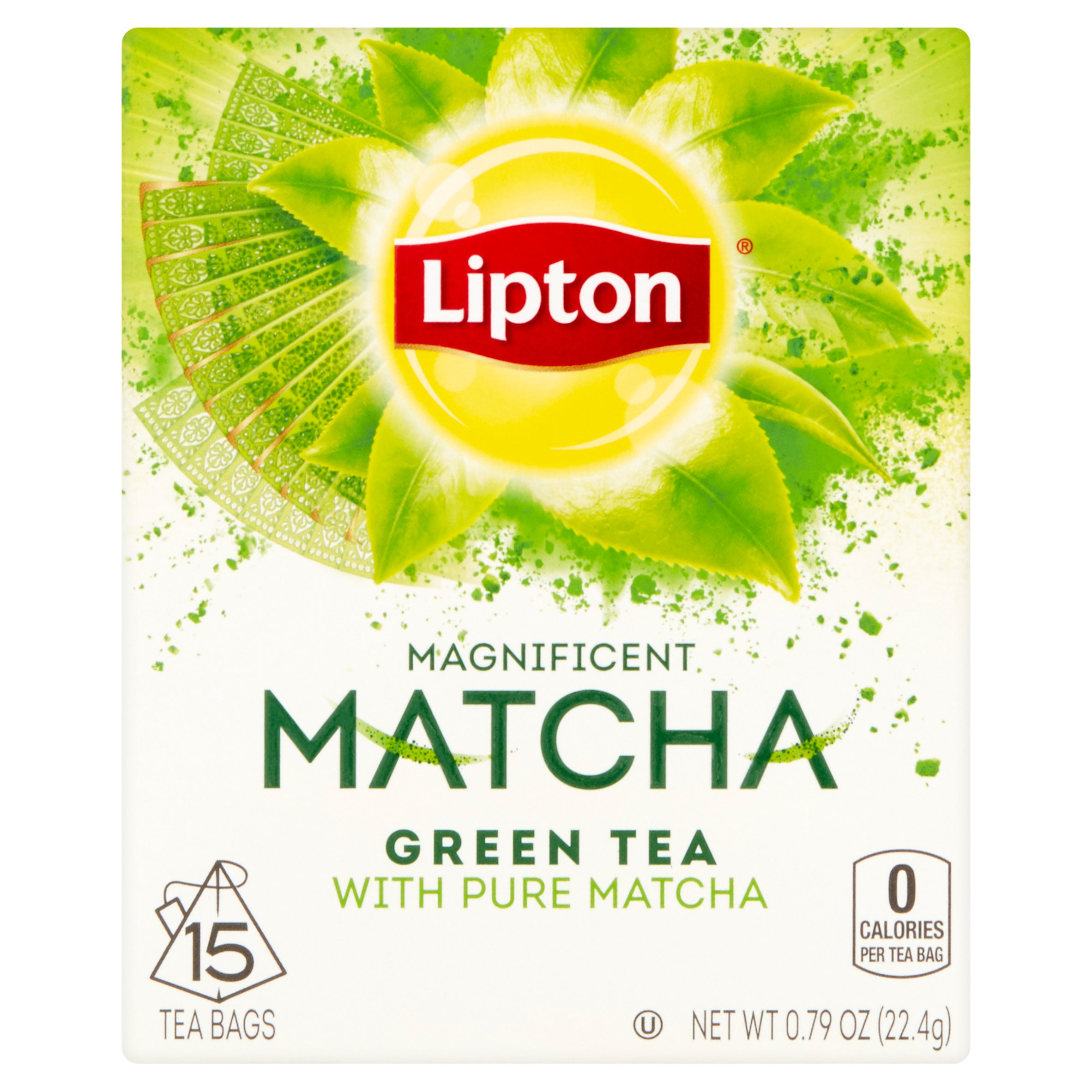 (3 Pack) Lipton Green Tea Bags Pure Matcha 15 ct
