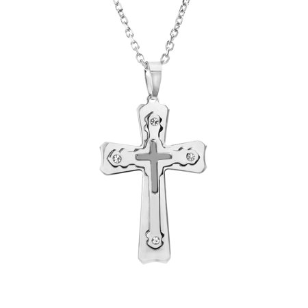 - Mens White Jeweled Triple Layered Cross Rolo Chain Necklace in Stainless Steel