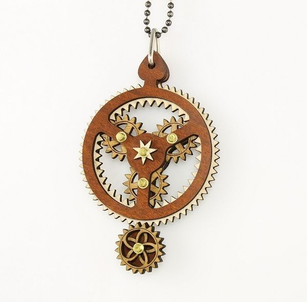 Green Tree Jewelry Kinetic Planetary Gear Wood Pendant Necklace with Chain 6003B