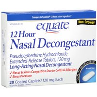 Equate: 12 Hour Non-Drowsy Long-Acting Caplets Nasal Decongestant, 24 ct