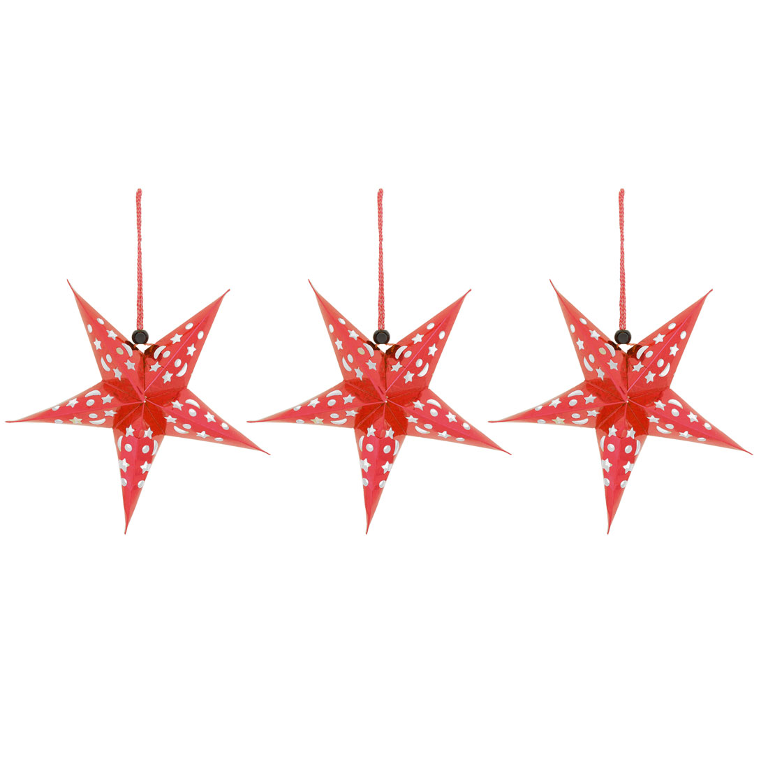 Unique Bargains Christmas Paper Star Shaped DIY Crafting String Hanging Ornament Red 3pcs