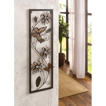 Framed Metal Butterfly and Magic Flowers Wall Art ()