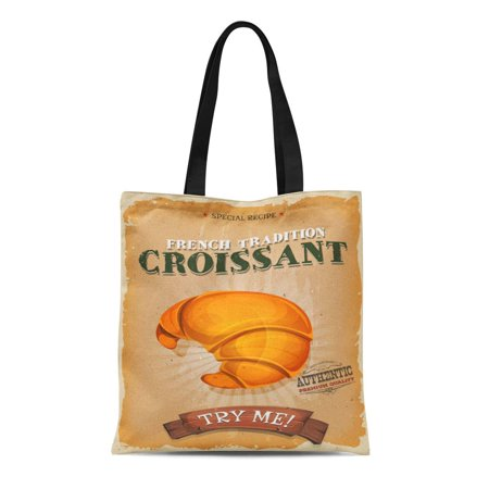 ASHLEIGH Canvas Tote Bag Sign and Vintage French Croissant of Appetizing for Breakfast Durable Reusable Shopping Shoulder Grocery