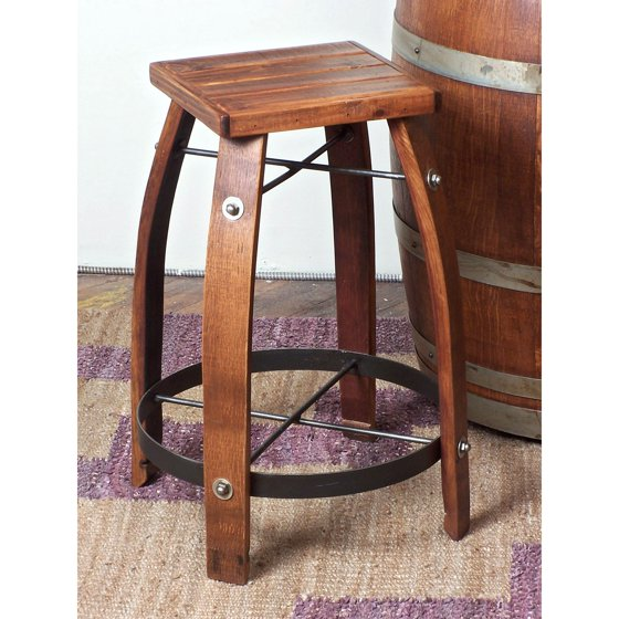 2 day designs reclaimed 24 inch stave wine barrel counter stool with wood seat. Black Bedroom Furniture Sets. Home Design Ideas
