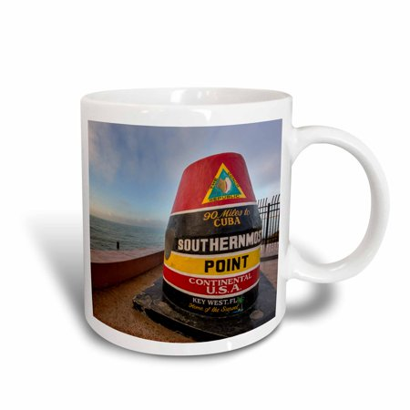 3dRose Buoy marks the southern most point in the US at Key West, Florida, USA, Ceramic Mug, 15-ounce