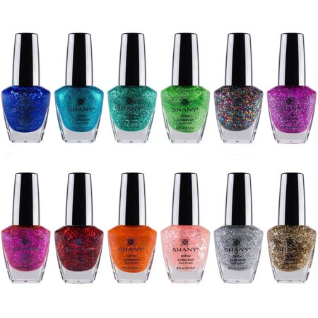 SHANY Glitter Collection Nail Polish Set, 12 count (Red Glitter Halloween Nails)