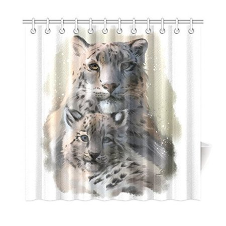 MKHERT Leopard Shower Curtain Home Decor Bathroom 66x72 Inch
