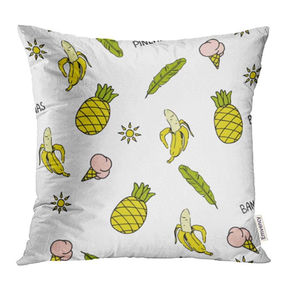 USART Yellow Text Summer Pattern Bananas Pineapples Ice Creams Appetizing Leaves Pillowcase Cushion Cases 20x20 inch