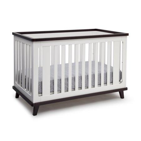 Delta Children Ava 3-in-1 Convertible Crib, White/Black Espresso