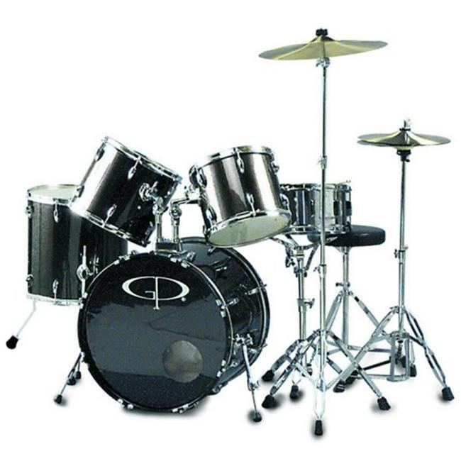 GP Percussion GP200SV 5 Piece Performer Drum Set - Metallic Siver