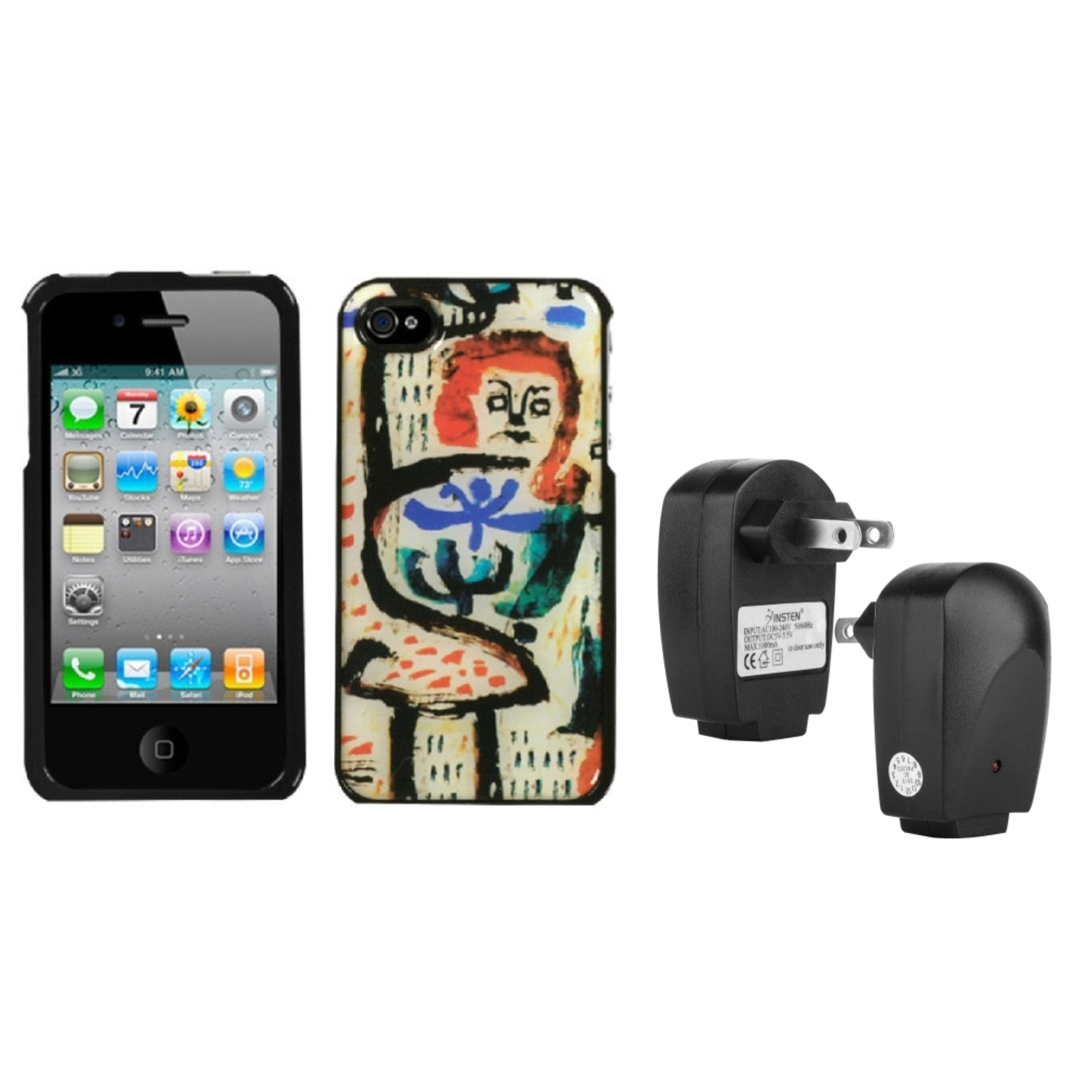 Insten Oriental Art Dream Case For iPhone 4 4S + USB Travel Charger Adapter