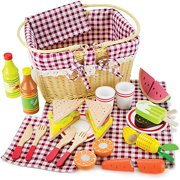 Imagination Generation Slice & Share Picnic Basket, Shareable Wooden Foods | Food Toys Pretend Play