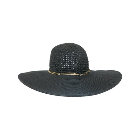 Size one size Women's Wide Brim Straw Hat with Crochet Crown and Shell Charms, Black