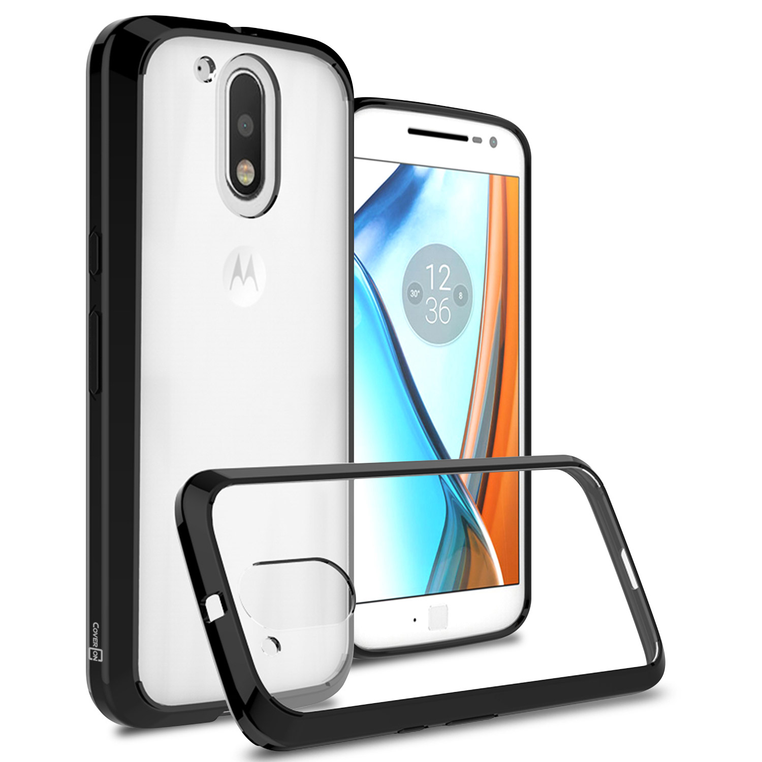 half off c9c55 44a00 coveron motorola moto g4 / g4 plus case, clearguard series clear hard phone  cover