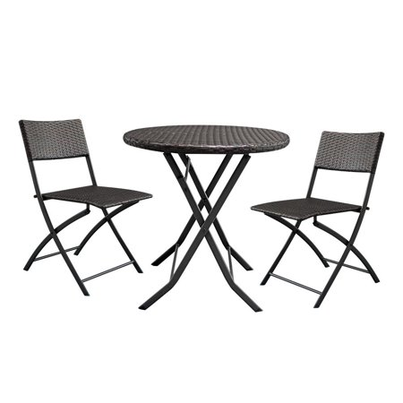 Ktaxon Patio Garden Rattan Wicker Furniture 3PCS Outdoor Folding Bistro Set ()
