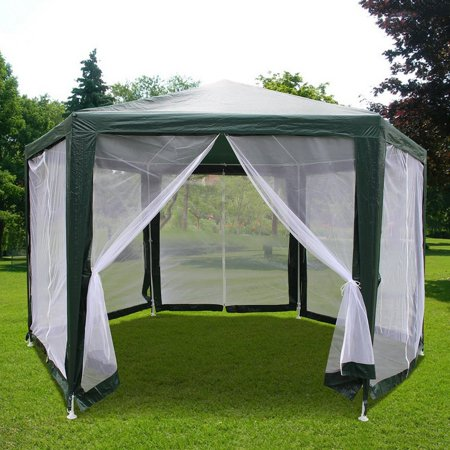 Quictent 6.6'x6.6'x6.6' Canopy Hexagon Party Tent Gazebo Sun Shade Shelter Screen House with Fully Enclosed Mesh Side Wall