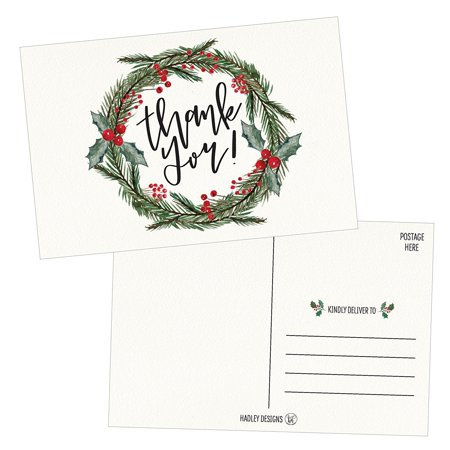 25 4x6 Blank Christmas Holiday Thank You Postcards Bulk, Cute Modern Fancy Winter Note Card Stationery For Wedding Bridesmaids, Bridal or Baby Shower, Teachers, Appreciation, Religious, Business Cards