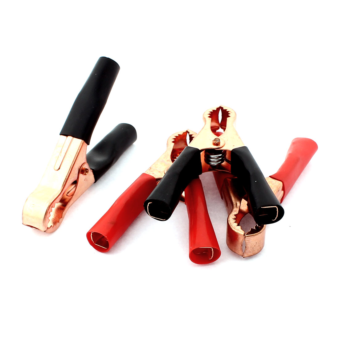 2 Pairs Copper Plated Insulated Car Battery Clips Alligator Clamps 50A Red Black