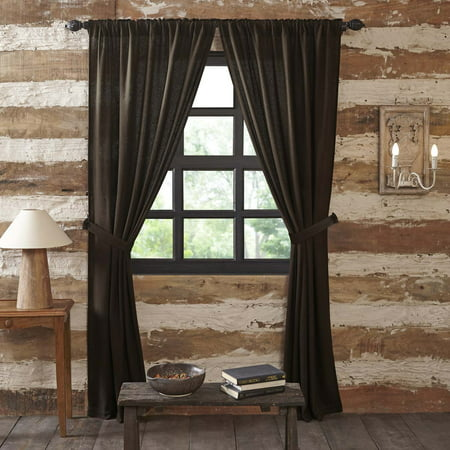 Chocolate Window Curtain (Chocolate Brown Rustic & Lodge Curtains Burlap Chocolate Rod Pocket Cotton Tie Back(s) Cotton Burlap Solid Color Panel Pair )