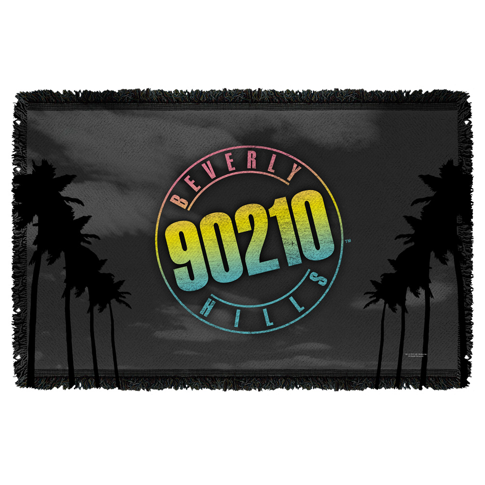 Beverly Hills 90210 Palms Logo Woven Throw White 48X80