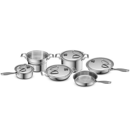 CookCraft Tri-Ply 10-Piece Stainless Steel Cookware Set