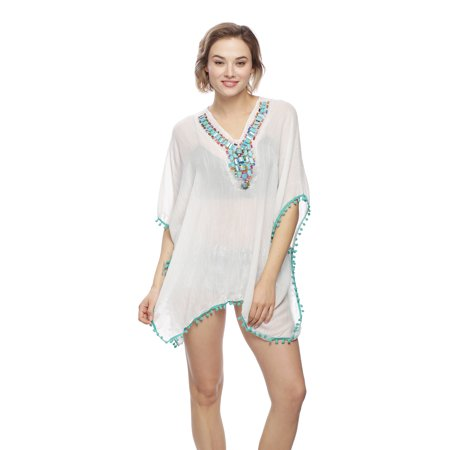 Beaded Poncho (Womens Handmade Beaded Accented Stylish Poncho Outerwear Top for Spring)