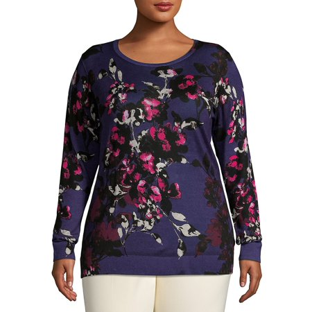 Plus Rustic Floral Crewneck Wool Sweater (Dkny Plus Size Hooded Wool Blend Babydoll Coat)