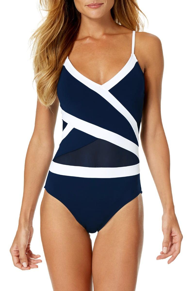 Colorblock Mesh 1-Piece Swimsuit