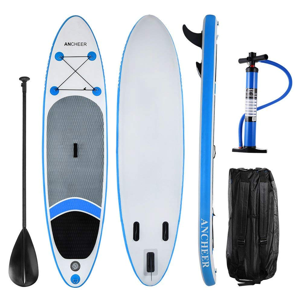 """Christmas Day Clearance&Sale!!! 10' 6"""" Inflatable SUP Stand Up Paddle Board, Blue Inflatable Paddle Board,iSUP Board Package with Adjustable Paddle, Pump and Backpack"""