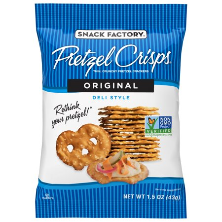 Snack Factory Pretzel Crisps, Original, Single-serve 1.5 Oz, 24 Ct (Halloween Pretzel Snack Bags)