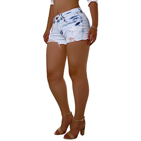 - Low Waist Blue Washed Women Sexy Summer Denim Shorts Casual Jeans