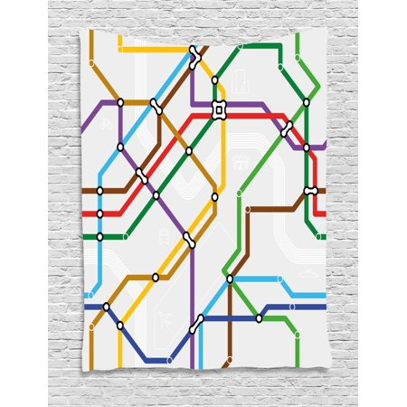 Railroaded Stripe - Map Tapestry, Stripes in Vibrant Colors Metro Scheme Subway Stations Abstract Railroad Transportation, Wall Hanging for Bedroom Living Room Dorm Decor, Multicolor, by Ambesonne