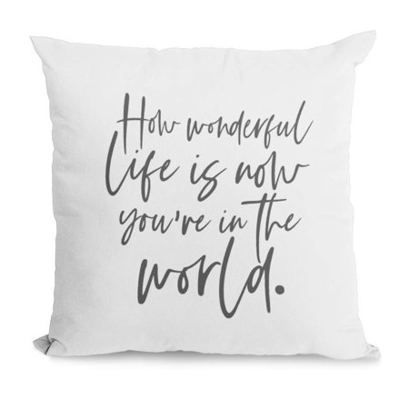 Wonderful Farm (Bonnie Jeans Homestead Prints Farmhouse Throw Pillow-How Wonderful Life is Now You're in The World- Home Decor- Nursery Pillow (White, 20x20) )
